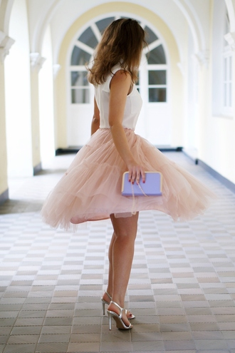 a piece of anna blogger silver shoes sandals tulle skirt pink skirt