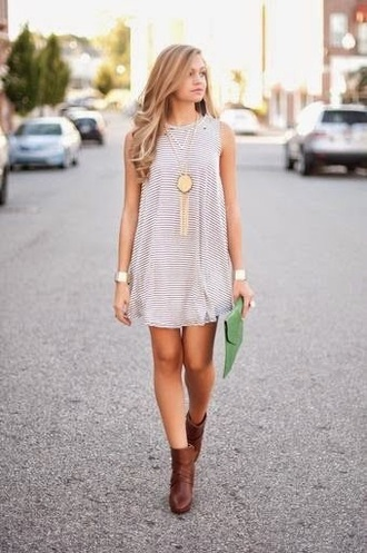 dress t- shirt stripped dress casual dress gold necklace