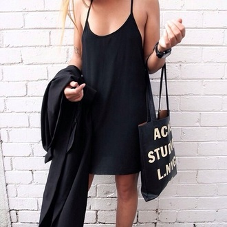 dress tumblr black dress mini dress slip dress bag acne studios black bag tote bag coat black coat all black everything