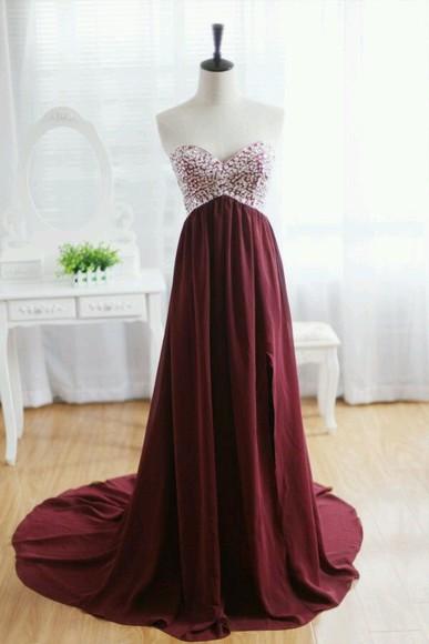 red dress prom dress long dress burgandy dress flowy dress elegant dress co ed