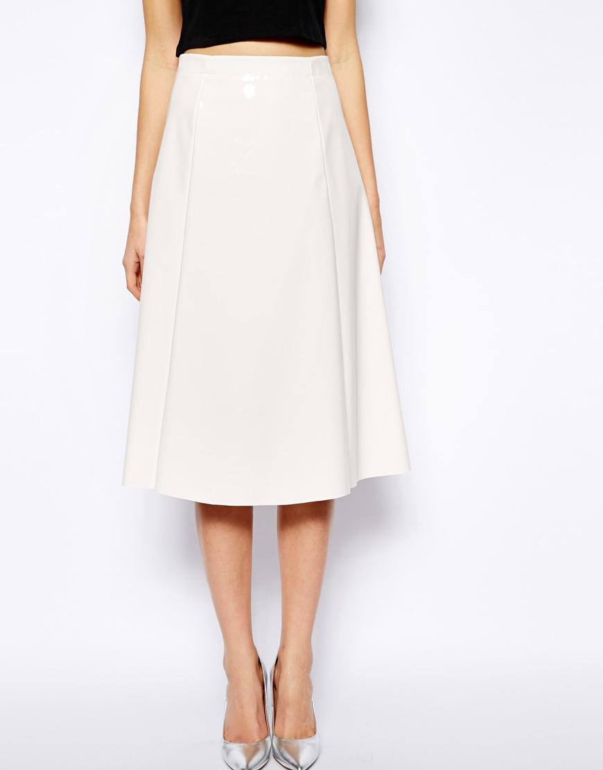 Warehouse Patent Full Midi Skirt at asos.com
