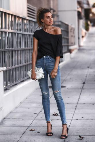 fashionedchic blogger shirt t-shirt jeans shoes bag jewels black top spring outfits skinny jeans sandals high heel sandals