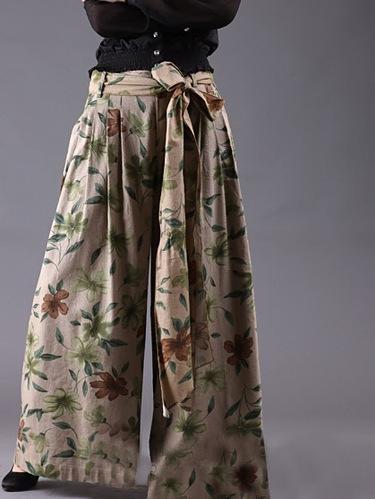 Pantalon large comme jupe  lin floral  k11—n195