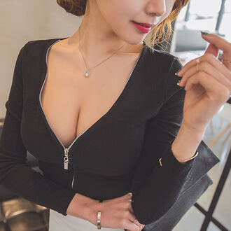 top sexy clubwear black slim korean fashion korean style curvy plus size 2xl xl zip up deep v deep v neck top zip up top zip down top casual black top slim top tight top deep v top long sleeves