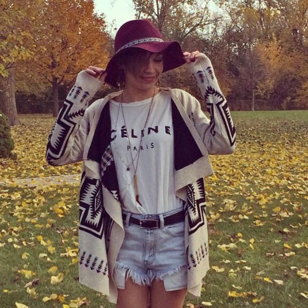 jacket cream shorts belt hat marron celine paris tribal pattern black jewelry t-shirt jewels