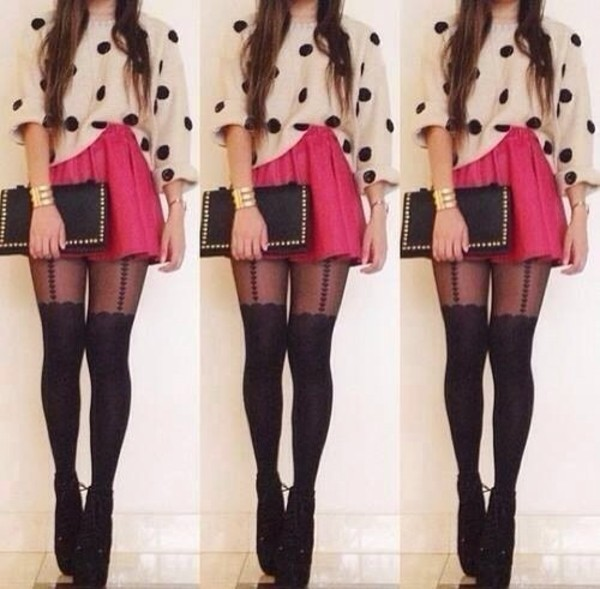 skirt shoes sweater pants