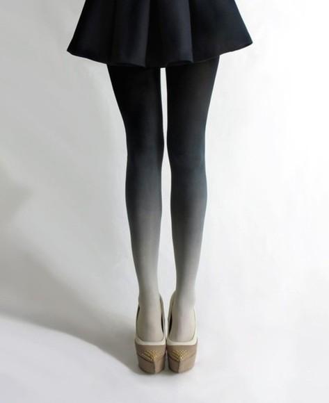 pants black and white tights black white tights black tights white tights ombre tie dye black and white