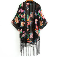 Gypsy dreams black floral fringe kimono top · fashion struck · online store powered by storenvy