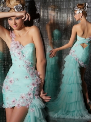 Buy Enchanting One-shoulder Applique Tulle Homecoming Dress under 300-SinoAnt.com