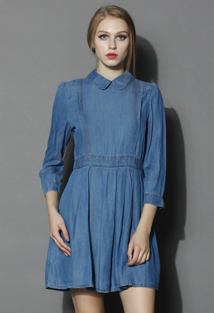 Classic Peter Pan Collar Denim Dress - Retro, Indie and Unique Fashion