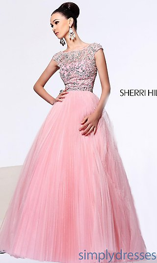 Cap Sleeve Beaded Ball Gown, Open Back Ball Gown - Simply Dresses