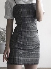 dress,grey,black,plaid,checkered,cute,checked dress,plaid dress,black dress,grey dress,cami dress