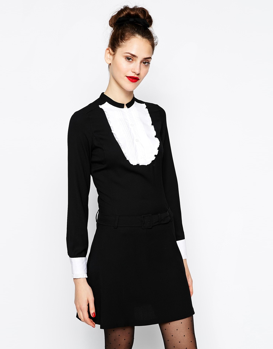 Love Moschino Long Sleeve Dress with Ruffle Bib Front and Cuff at asos.com