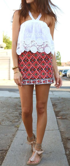 skirt red skirt boho boho skirt white boho too white boho top lace top crop too sandler sandals