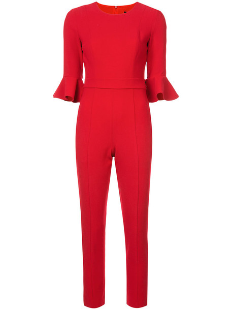 Black Halo jumpsuit cropped women spandex red