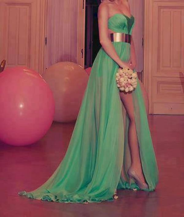 dress green dress gold belt gold belt dress long prom dress blouse