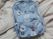 bag,daisy,band,badge,backpack,skull,pins,punk,the rolling stones
