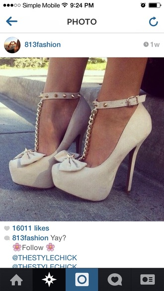 shoes nude shoes high heels with bows