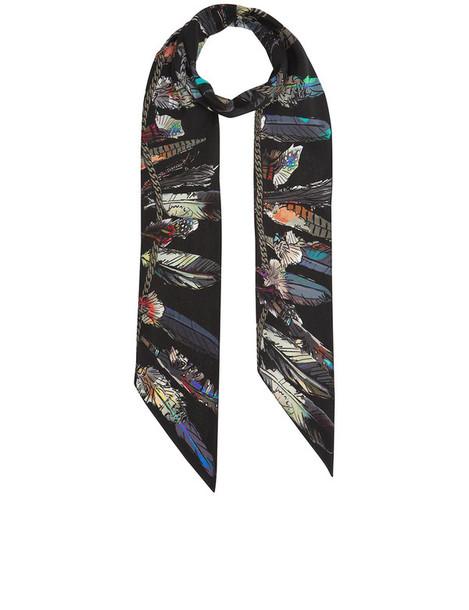 feathers scarf black silk
