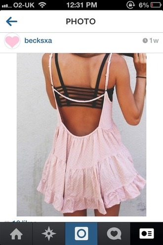 dress pink frilly cutout back cut-out tumblr cute pink dress festival tanned instagram underwear