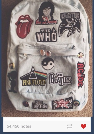 bag grunge soft grunge pale band alternative nirvana denim backpack denim denim bag the who the beatles the rolling stones patch tumblr blouse
