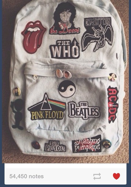 bag grunge soft grunge pale band band alternative nirvana denim backpack denim denim bag the who the beatles the rolling stones patch tumblr blouse