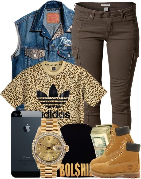 skirt bosslife beanie dope adidas chettah print boss it up gold oversized gold watch timberlands