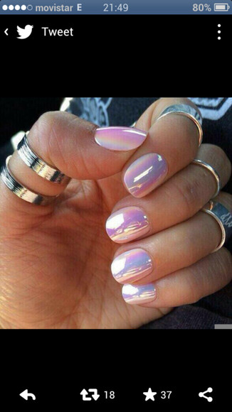 nail polish iridescent pearl nails