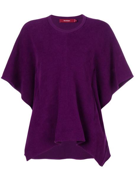 Sies Marjan - asymmetric pleated top - women - Cotton/Spandex/Elastane - 8, Pink/Purple, Cotton/Spandex/Elastane