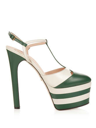 angel sandals platform sandals leather white green shoes