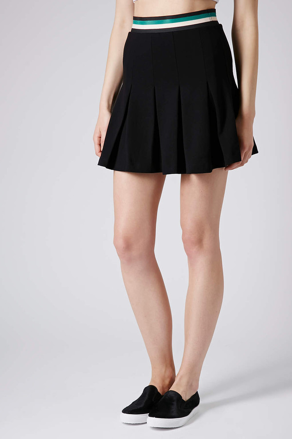 skirt sporty trim pleat skater