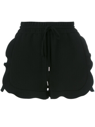 shorts women drawstring black silk