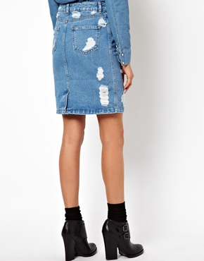 ASOS | ASOS Denim Skirt in Ripped Vintage Wash at ASOS