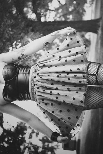 skirt polka dots cute grunge leather