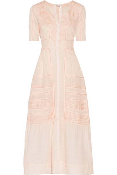 LoveShackFancy dress maxi dress maxi embroidered pastel cotton pink pastel pink