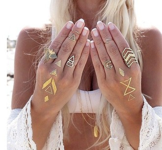 jewels chevron geometric phoenix crescent moon ring fake tattoos jewelry boho boho chic boho jewelry bohemian gold gold ring