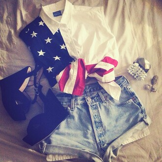 blouse usa steve madden shoes outfit american flag
