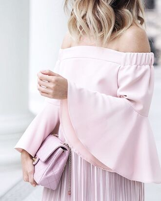 top tumblr pink top bell sleeves off the shoulder off the shoulder top skirt pink skirt all pink everything all pink wishlist bag pink bag monochrome outfit