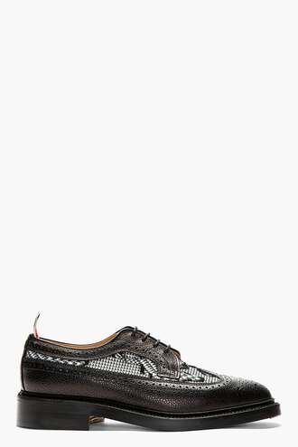 brogues black shoes menswear casual shoes longwing houndstooth