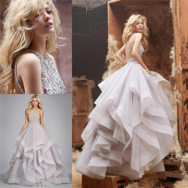 Discount 2014 Floor Length Ball Gown Wedding Dresses Scalloped Beading Sequin Cascading Ruffles Backless Bridal Gowns Wedding Prom Dress Online with $200.0/Piece | DHgate