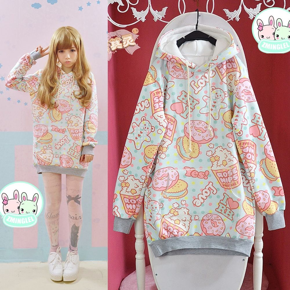 Cute womens lolita cartoon doughnut loose hoodie sweater harajuku long sleeve