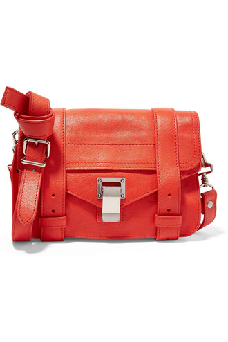 satchel mini leather orange bright bag