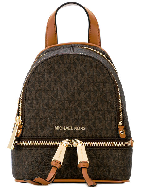 MICHAEL Michael Kors mini women backpack mini backpack leather cotton brown bag