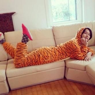 pajamas heechul onesie tiger print super junior