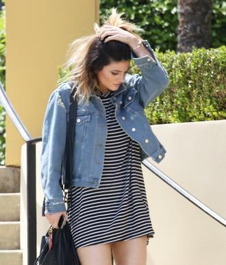 dress kylie jenner bag stripes striped dress denim black short hair bracelets black bag