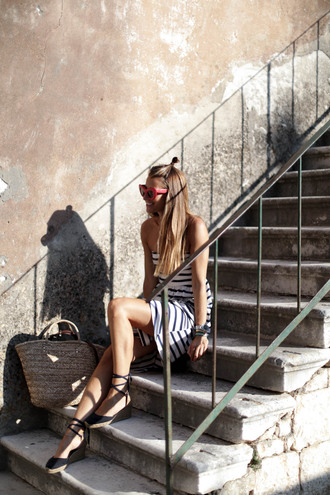 b a r t a b a c blogger dress shoes sunglasses strapless mini dress stripes striped dress pink sunglasses lace up lace up heels wedges