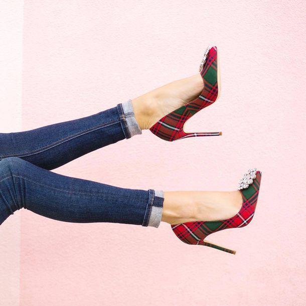 ea3ddfd70ea7 shoes tumblr tartan embellished pumps pointed toe pumps high heel pumps  high heels plaid denim jeans