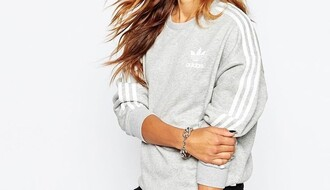 sweater adidas adidas sweater 3-stripes grey white crewneck jumper jeans black ripped jeans adidas originals