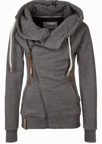 jacket side zip hoodie hoodie grey gray hoodie