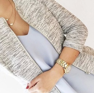 jacket jewelry necklace watch gold top light blue tank top pastel blue pastel jewels chain gold watch marc jacobs outfit cardigan classy blouse shirt coat tweed blazer grey burnout zipup white bomber jacket elegant